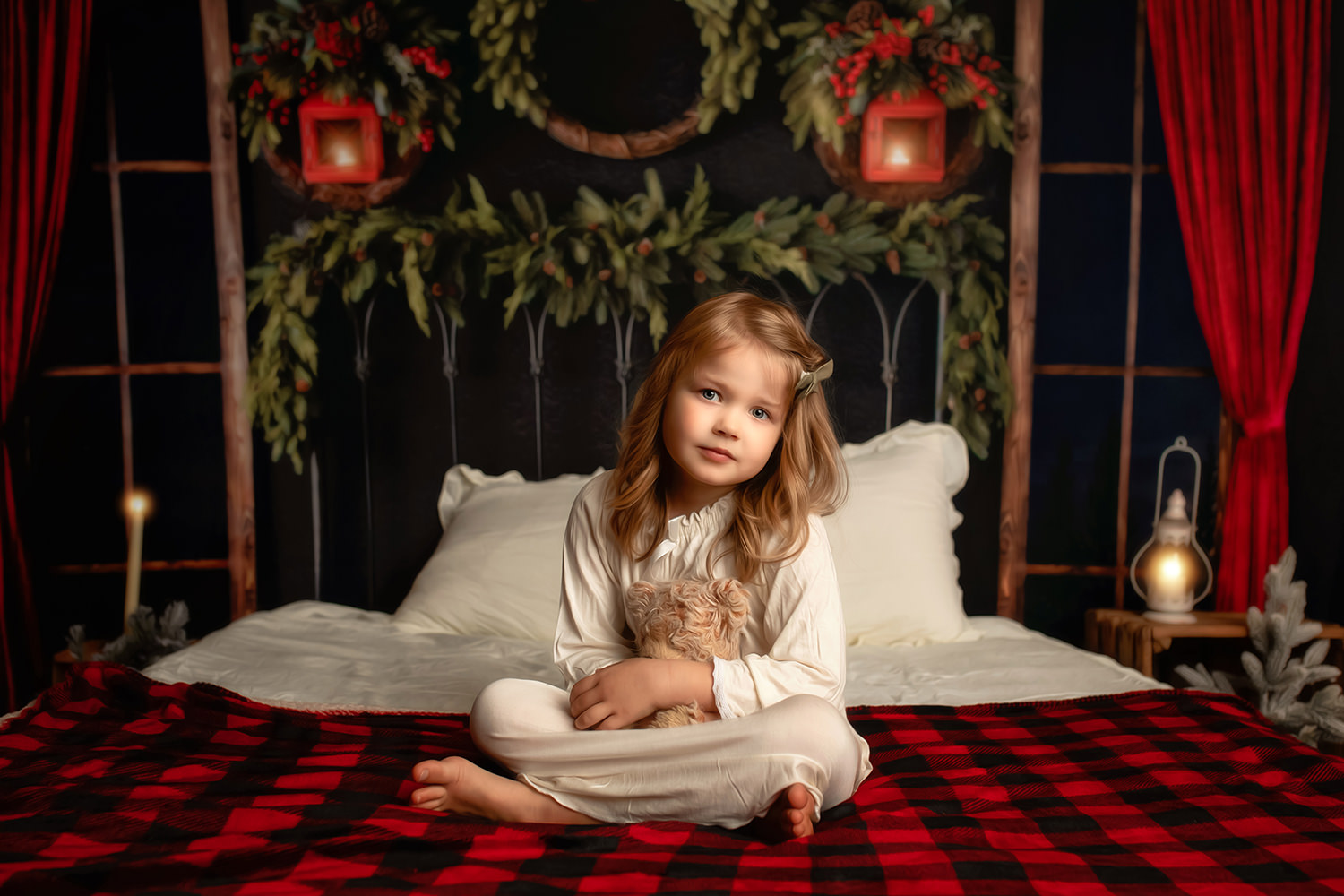 Rochester Newborn Photographer - Christmas Mini Session - Holiday Snuggle Sessions - Child in Pajamas on bed at Christmas