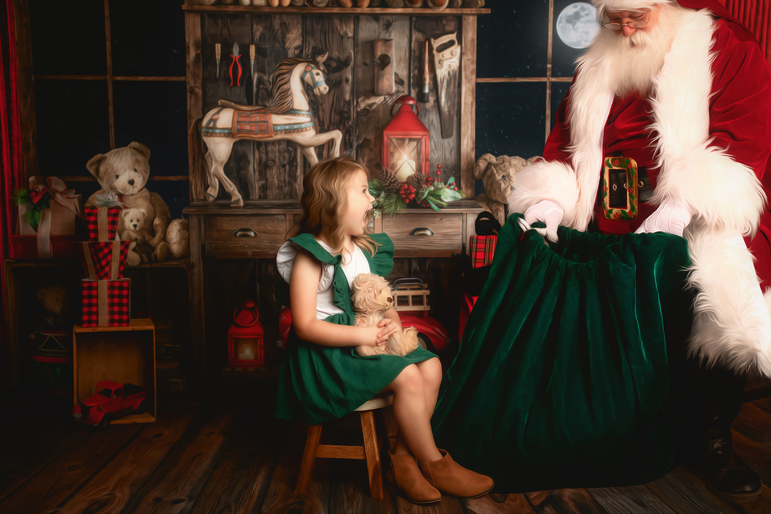 Rochester Santa Mini Sessions - Little Girl sitting in front of Santa at his workshop